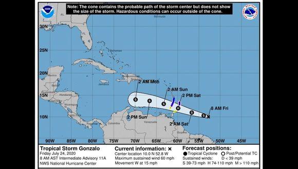 Fotografía cedida por el Centro Nacional de Huracanes (NHC) de Estados Unidos donde se muestra el pronóstico del paso de la tormenta tropical Gonzalo por Venezuela.  (Foto: EFE/NHC).