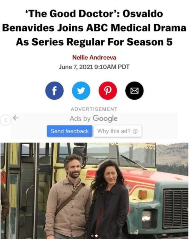 """""""The Good Doctor"""" presentó a Osvaldo Benavides como el Dr. Mateo Rendón Osma. (Foto: Osvaldo Benavides/ Instagram)"""