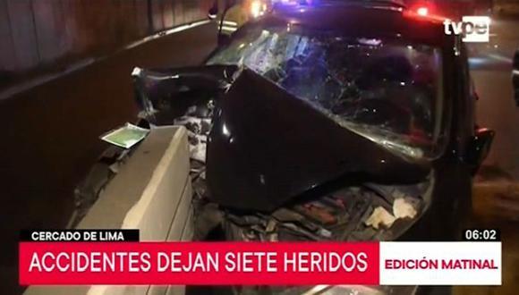 El exceso de velocidad sería la causa del despiste de los vehículos. (Captura: TV Perú Noticias)