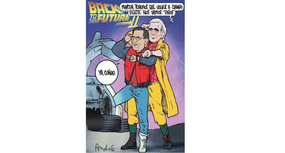 05/10/19 Tras la disolución del Congreso, la crisis se convirtió en la incertidumbre de nuevas elecciones parlamentarias. Cual Dr. Brown, Pedro Olaechea intenta hacer retroceder a Vizcarra (Marty McFly) en su decisión.