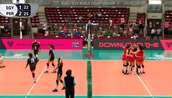 Perú derrotó a Egipto en su estreno en el Mundial Sub 18 de vóley femenino | Foto: Captura.