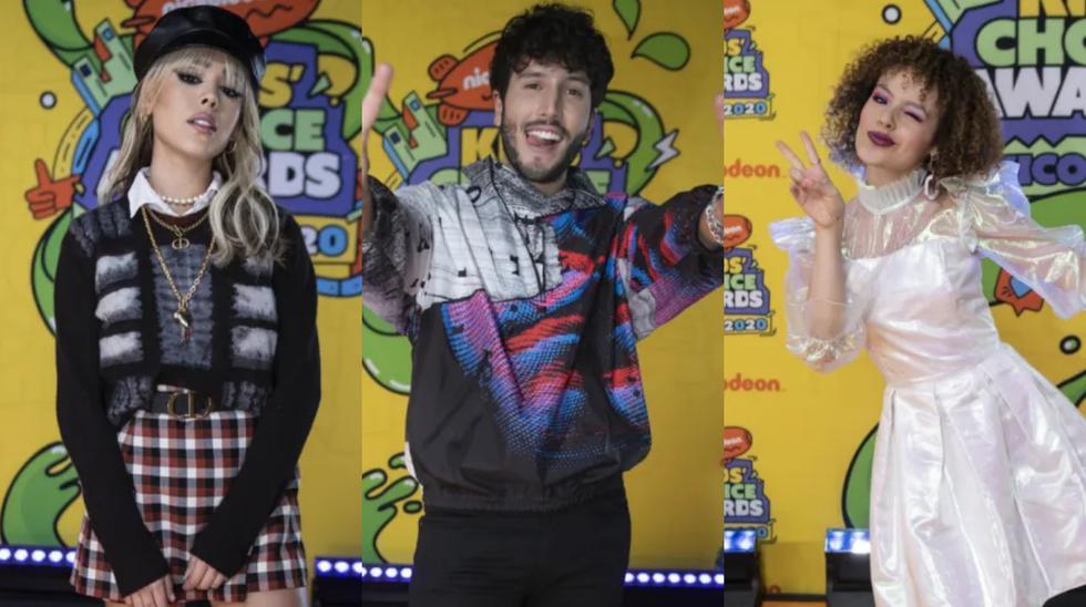 De izquierda a derecha Danna Paola, Sebastián Yatra y Nicole Gatti; presentes en los Kids' Choice Awards México 2020. Foto: Nickelodeon.