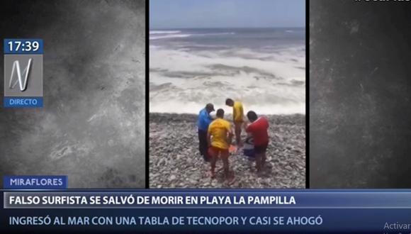 El falso surfista fue rescatado por agentes de la Unidad de Salvataje de la Policía.(Canal N)