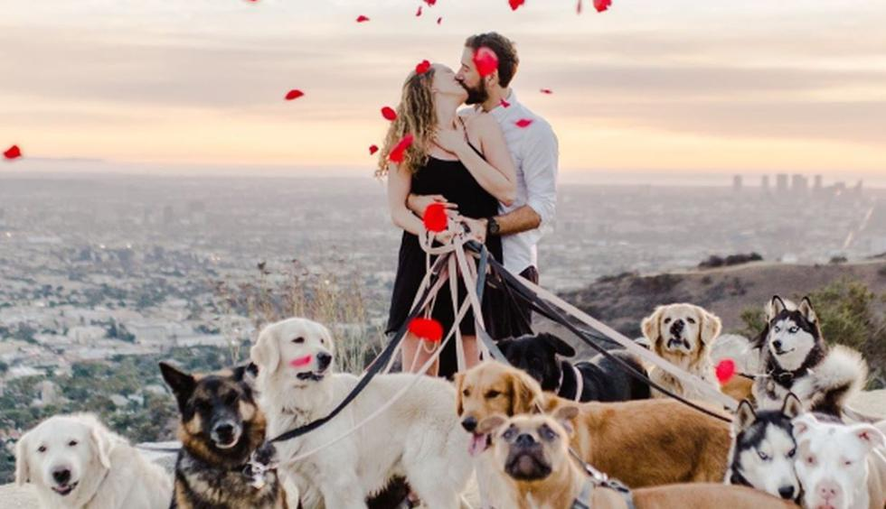 Laura Stampler es la sorprendida y emocionada mujer que aceptó casarse entre lágrimas, risas, abrazos y muchos ladridos. (Foto: Instagram Rebecca Yale Photography)