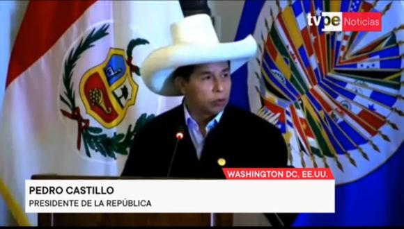 Pedro Castillo dio un discurso ante el Consejo Permanente de la OEA. (Foto: captura de video)
