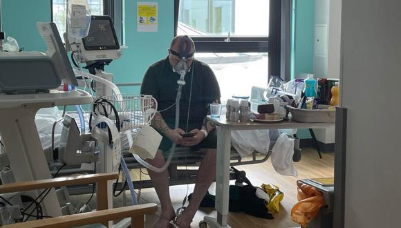 Imagen de Matthew Keenan, padre de familia de 34 años internado por coronavirus en Reino Unido. (Captura / Twitter).