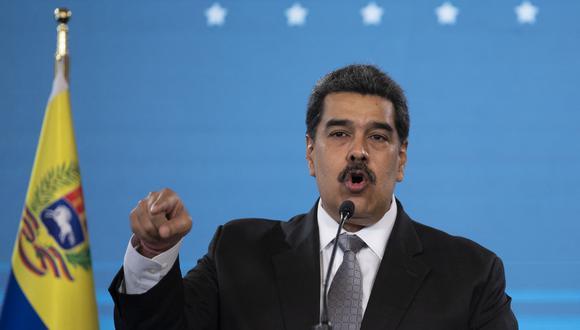 El presidente de Venezuela, Nicolás Maduro, hace un gesto durante una conferencia de prensa en el Palacio Presidencial de Miraflores en Caracas el 17 de febrero de 2021. (Foto: Yuri CORTEZ / AFP)