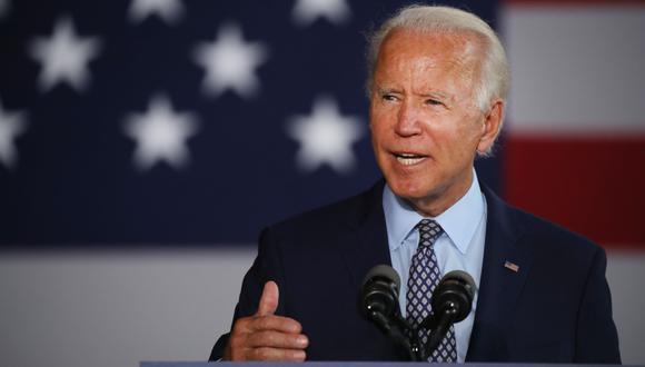El virtual candidato presidencial demócrata Joe Biden habla en McGregor Industries en Dunmore, Pennsylvania. Imagen de archivo del 9 de julio de 2020. (Spencer Platt/Getty Images/AFP).