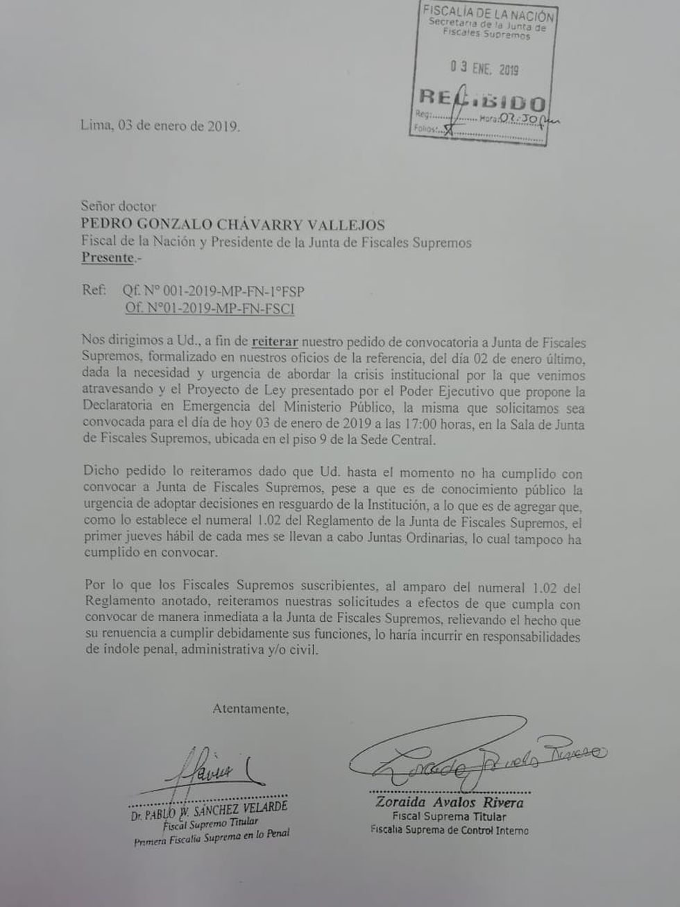 Oficio remitido a Pedro Chávarry.