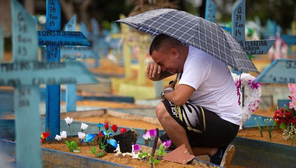 Un hombre llora junto a una tumba en el cementerio de Nossa Senhora Aparecida el Día de la Madre, en Manaus, estado de Amazonas, Brasil, el 9 de mayo de 2021, en medio de la pandemia de coronavirus. (Foto de Michael DANTAS / AFP).