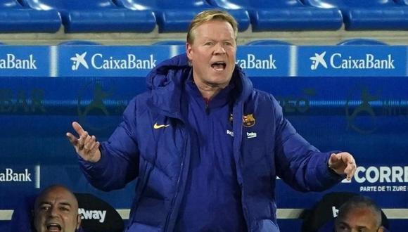 Ronald Koeman molesto tras empate de Barcelona y Alavés. (AFP)