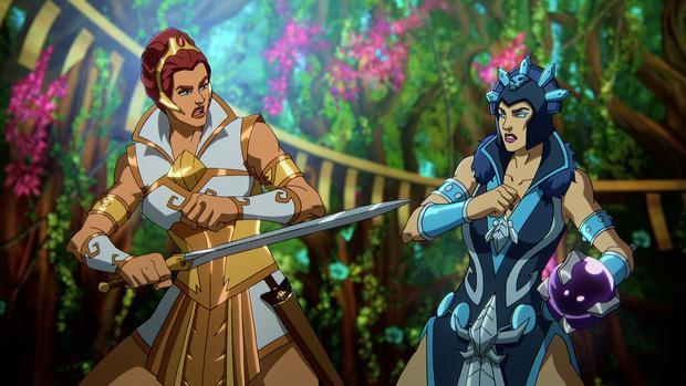 """Teela e Evil Lyn EVIL in una scena del capitolo 1 di """" padroni dell'universo""""."""