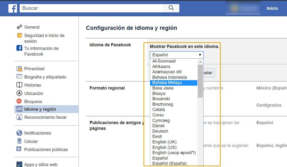 Recuerda que debes cambiar el idioma a Facebook para poder realizar el truco. (Foto: Facebook)
