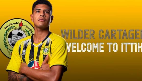Wilder Cartagena jugará en el Ittihad Kalba hasta mediados del 2023 | Foto: Ittihad Kalba.