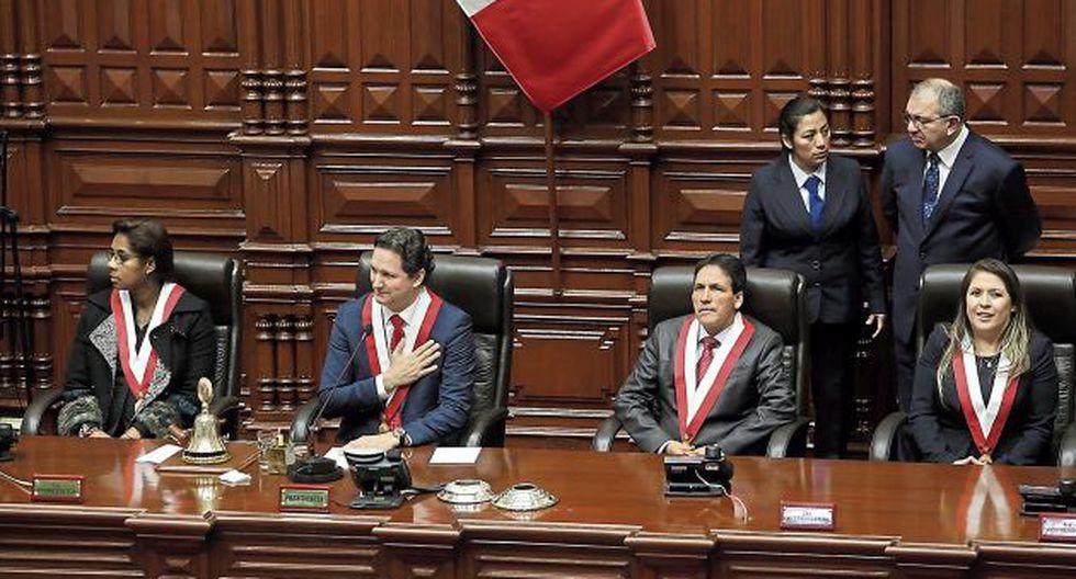 El parlamentario Daniel Salaverry estará acompañado en la Mesa Directiva por sus colegas de bancada Leyla Chihuán, Segundo Tapia y Yeni Vilcatoma. (Foto: Anthony Niño de Guzmán / El Comercio)