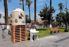 Coronavirus en Perú: instalan lavaderos portátiles en Plaza de Armas por Covid-19 en Chincha   FOTOS
