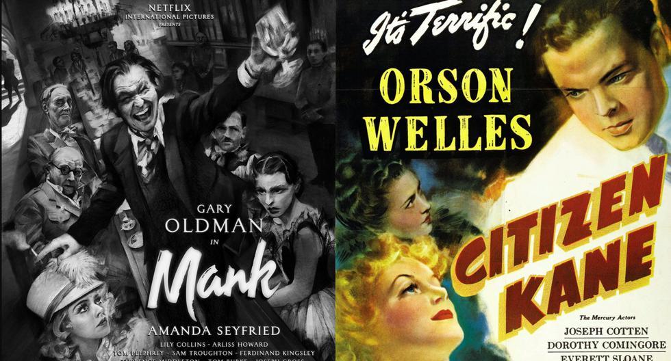"""A la izquierda, el pósters oficial de """"Mank""""; con la que David Fincher busca rendir honor a Hollywood y la industria que produjo """"Ciudadano Kane""""; cuyo póster observamos a la derecha. Fotos: Netflix/ RKO."""