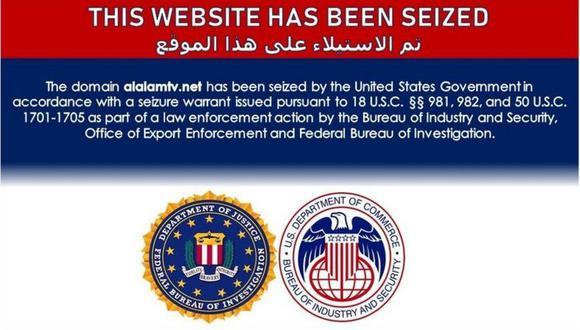 """Cada sitio mostraba una única página con un comunicado que decía que """"ha sido tomado por el gobierno de Estados Unidos"""" y hacía referencia a sanciones estadounidenses, acompañado con los emblemas de la policía federal FBI y el Departamento de Comercio."""