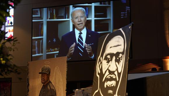 "Joe Biden dice en mensaje grabado para funeral de hombre negro que llegó momento de ""justicia racial"". (EFE/EPA/David J. Phillip / POOL)"