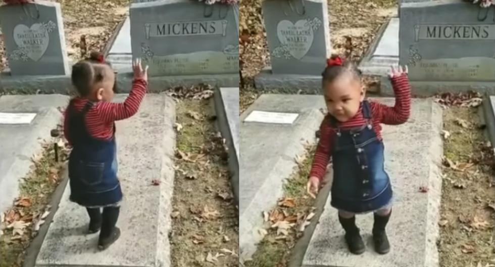 La pequeña visitó la tumba de su madre junto a su tía, quien fue la que grabó el supuesto hecho paranormal. (Captura de YouTube)
