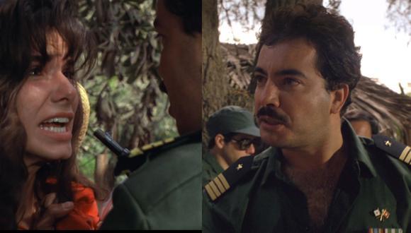 """Jorge García Bustamante junto a Sandra Bullock en """"Fuego en el Amazonas"""", película dirigida por Luis Llosa. (Fotos: Concorde-New Horizons)"""