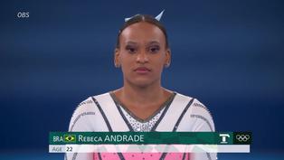Brasileña Rebeca Andrade salta hasta lo más alto en Tokio 2020