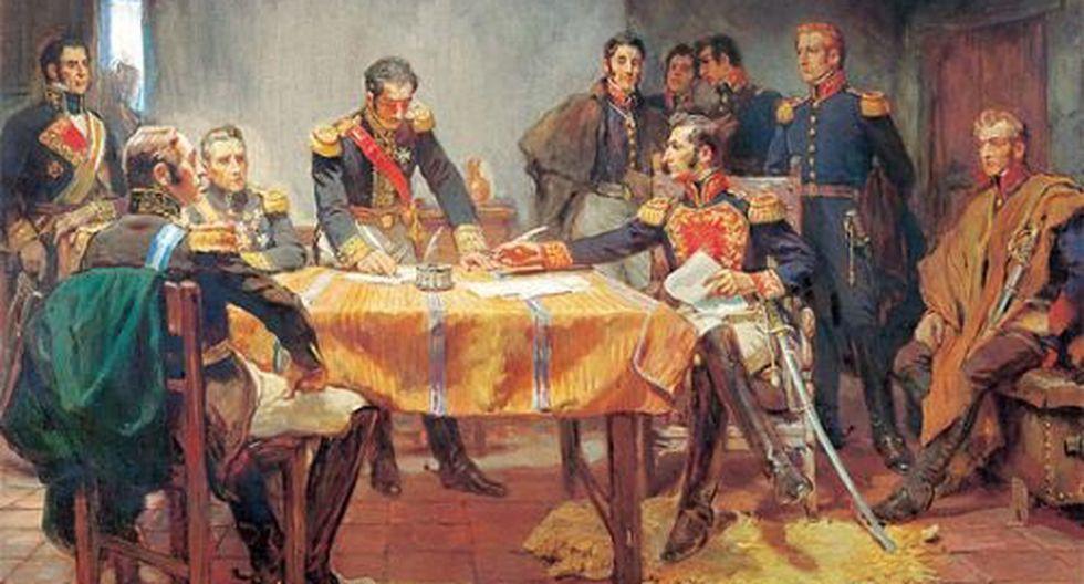 (Óleo: Capitulación de Ayacucho, de Daniel Hernández)