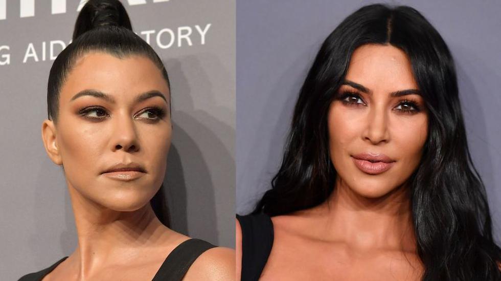 Kim y Kourtney Kardashian en la gala amFAR realizada en la ciudad de Nueva York. (Fotos: Agencia AFP)
