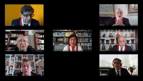 Los seis magistrados con el mandato vencido son Eloy Espinosa-Saldaña, Carlos Ramos, Marianella Ledesma, Manuel Miranda, Ernesto Blume y José Luis Sardón. José Luis Sardón. (Composición: El Comercio)(Captura: TC)