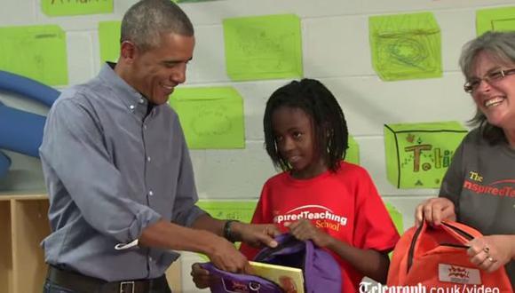 Niña le dice a Obama que habría preferido la visita de Beyoncé