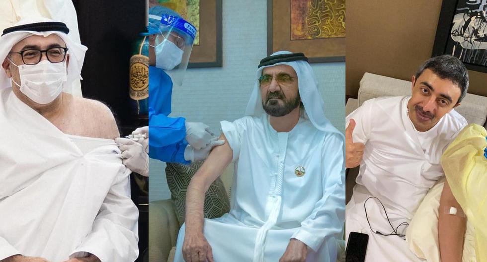 El primer ministro de Emiratos Árabes Unidos (EAU) flanqueado por los ministros de Salud (Izq.) y de Relaciones Exteriores (Der.) durante la vacunación. (Fotos: Twitter)