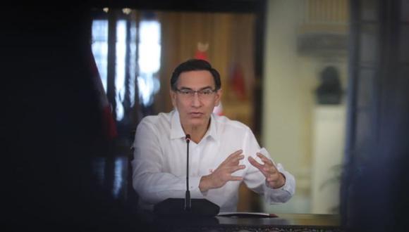 El presidente Martín Vizcarra participa en una conferencia de prensa, ayer, en Palacio de Gobierno (Foto: Presidencia).