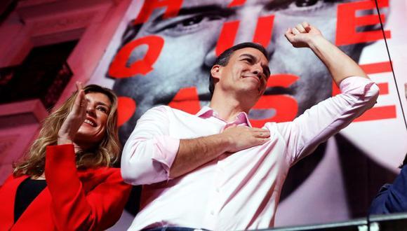 El socialista Pedro Sánchez reivindica la victoria en las legislativas españolas. (EFE)