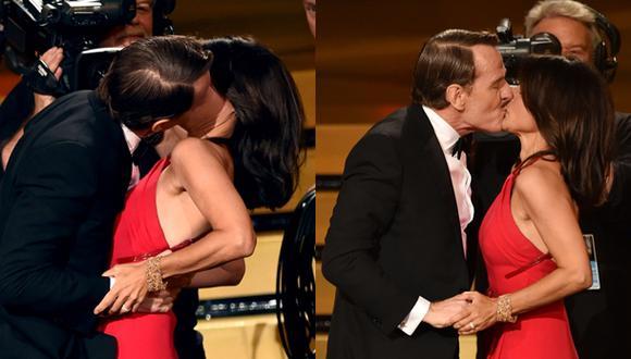 Emmy 2014: Bryan Cranston le robó un beso a Julia Louis-Dreyfus