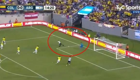 Argentina vs. Colombia: Mauro Icardi erró clara ocasión de gol ante Ospina. (Foto: captura)