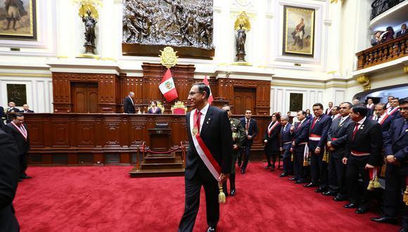 El presidente Martín Vizcarra anunció un referéndum sobre la reforma política y judicial el 28 de julio en el Parlamento. (Foto: Congreso)