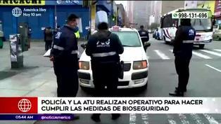 ATU y Policía fiscaliza al transporte público para hacer cumplir medidas de bioseguridad