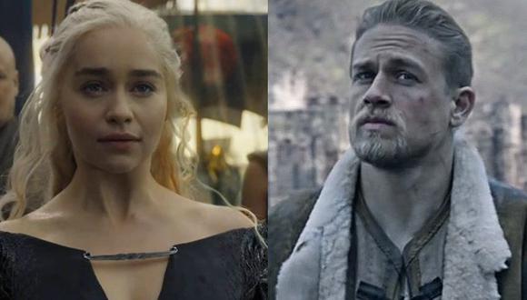 """""""Game of Thrones"""". De izquierda a derecha Emilia Clarke como Daenerys Targaryen y Charlie Hunnam como el rey Arturo. (Fotos: HBO/ Warner Bros.)"""