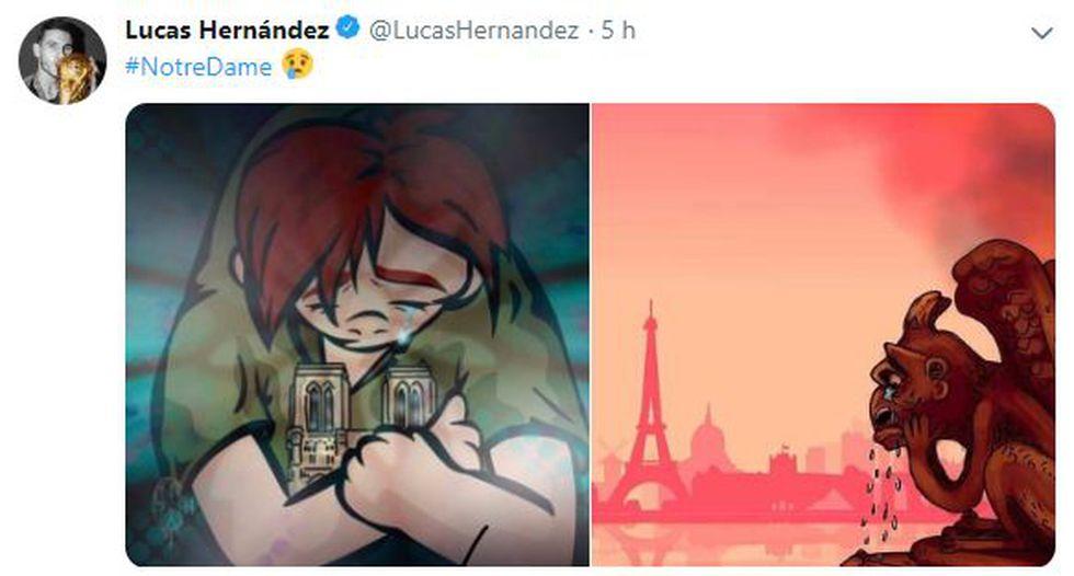 Lucas Hernández  - Notre Dame. (Foto: Twitter Lucas Hernández)