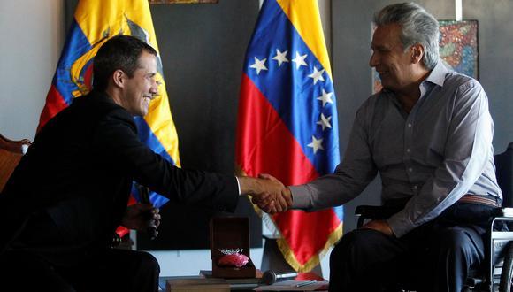 El presidente encargado de Venezuela, Juan Guaidó, fue recibido el sábado por el mandatario de Ecuador Lenín Moreno. (Reuters).