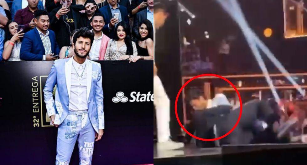 Premios Lo Nuestro 2020. Sebastián Yatra y su caída en el evento musical. Fotos: Instagram/ Univisión.