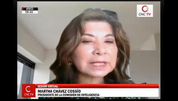 Martha Chávez fue elegida presidenta de la Comisión de Inteligencia  del Congreso. (Foto: Captura)