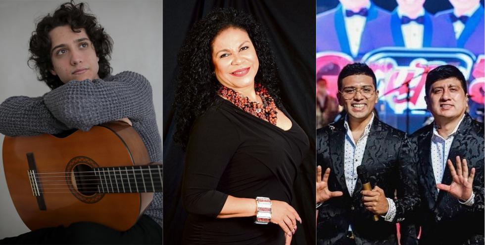 Varios artistas nacionales festejarán las Fiestas Patrias en torno al Bicentenario del Perú con conciertos presenciales y virtuales. Entre ellos destacan la cantante criolla Eva Ayllón, el Grupo 5 y Vasco Madueño. (Foto: El Comercio/@grupo5oficial /Composición)