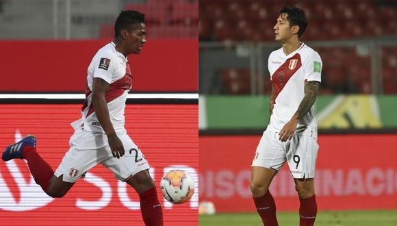 Pedro Aquino y Gianluca Lapadula pelean por ingresar al equipo titular de Perú contra Argentina por las Eliminatorias Qatar 2022. (Foto: AFP)