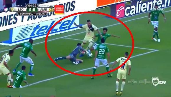 América vs. León EN VIVO vía FOX Sports 2: así fue la jugada más polémica del primer tiempo | VIDEO. (Foto: Captura de pantalla)