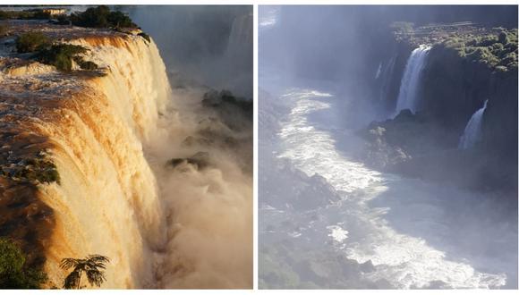 Antes y después de las cataratas del Iguazú. (Foto: CHRISTIAN RIZZI / AFP / EFE / Cortesía el Instituto de Turismo de Iguazú).