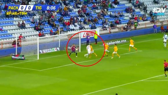 Tigres vs. Pachuca: el gol de Ángelo Sagal para el 1-0 en la Copa MX. (Foto: captura)