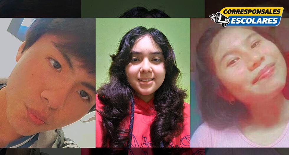 Los corresponsales escolares preocupados por su comunidad.  De izquierda a derecha: Diago (15 años), Salomé (17 años) y Rosario (16 años).