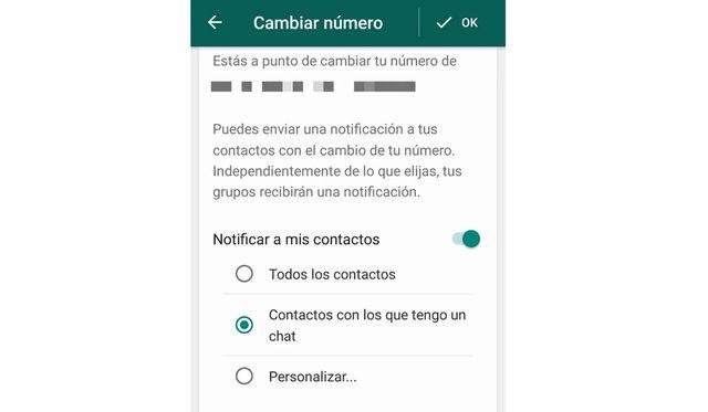 En el apartado final, cuando hayas cambiado de número en WhatsApp, se te informará si deseas notificar a todos tus contactos. (Foto: MAG)