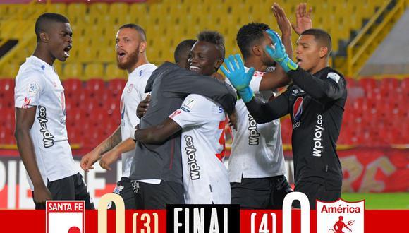 América de Cali e Independiente Santa Fe igualaron sin goles en los 90 minutos. Finalmente, 'Los Diablos Rojos' avanzaron a los cuartos de final del torneo. (Foto: Twitter América de Cali)